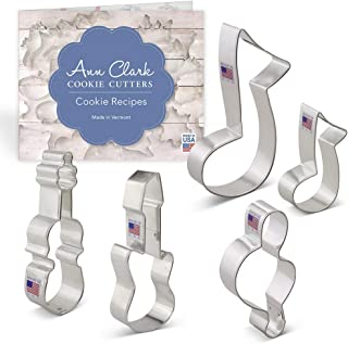Ann Clark Cookie Cutters 5-Piece Music and Instrument Cookie Cutter Set with Recipe Booklet, 3