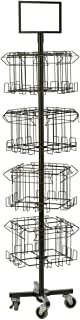 Displays2go Floor Standing Portable Literature Rack, 16 Pockets for Magazines, Spinning, Tiered (Steel Wire) (4RTMZBRBK)
