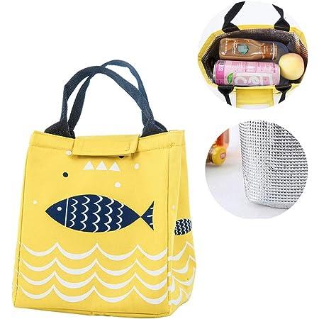 Orange Sac /à D/éjeuner Sac Isotherme Sac Repas Lunch Bag Sac Fra/îcheur Portable Tout Isolant pour Pique-Nique de Voyage 13.8x7.8pouces//35x20cm
