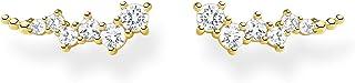 Thomas Sabo - Pendientes para mujer con piedras blancas doradas, plata de ley 925