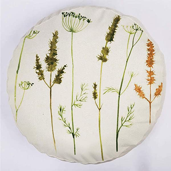 Round Decorative Throw Pillow Floor Meditation Cushion Seating Wild Flowers Herbs And Twigs Wilderness Untamed Plants Ecological Art Decorative For Home Decoration 17 X17 Vermilion Dark Green