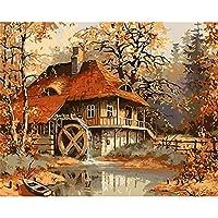 油絵数字キットによる絵画デジタル絵画油絵 数字キットによる絵画手塗りDIY絵デジタル油絵塗り絵 - 秋の森のロッジ