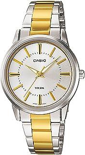 ساعة كاسيو للنساء شاشة بيضاء سوار ستانلس ستيل - LTP-1303SG-7AV