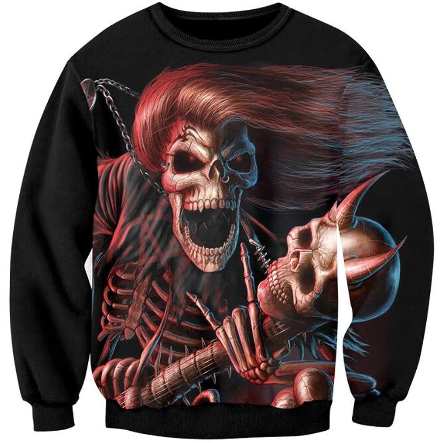 YL-HENOOSNG Men 3D Full Printing Skeleton Evil Sweatshirt Clothing Hip Hop Hoodies Plus Size Tracksuits