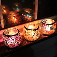 ChezMax Scented Candle Holder Mosaic Glass Tea Light Holder,Handmade Romantic Glass Tealight Candle Holder for Aromatherap...