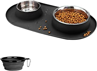 Dog Bowls Stainless Steel, Collapsible Dog Bowl with No Spill Non-Skid Silicone Mat Set, Three Feeder Food Water Bowl for ...