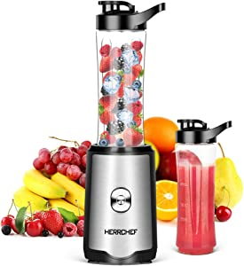 Smoothie Blender, Herrchef Personal Blender for Shakes and Smoothies, 350W Single Serve Blender for Fruits and Vegetables Drinks with 2 x 20oz Tritan BPA-Free Travel Sport Bottles