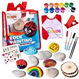 Rock Painting Kit for Kids Ages 4-8   Arts & Craft Kits for Girls & Boys with Assorted Rocks, Acrylic Paints, Paintbrushes, Art Smock, Paint Markers, Stickers & Loads More