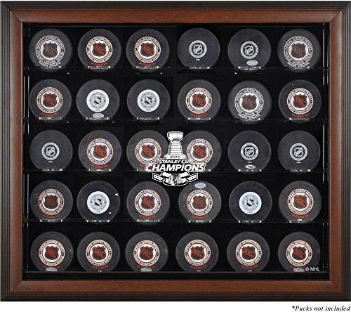 Sports Memorabilia Chicago Blackhawks 2015 Stanley Cup Champions Brown Framed 30-Puck Logo Display Case - Hockey Puck Logo Display Cases