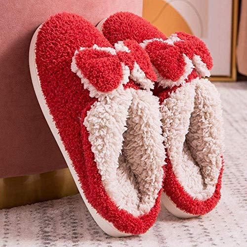SLM-max Zapatillas Unisex,Bonitas Pajarita cálidas de Piel sintética para Mujer y Hombre, de Interior para Amantes de la Felpa Suave, Zapatos de Invierno, para el hogar sin Cordones