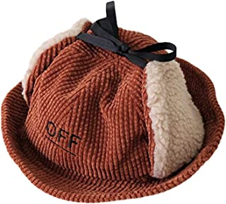 COMVIP Kids Corduroy Winter Bucket Hat Boy Girl Warm Caps with Earflap