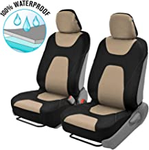 Motor Trend OS274 Beige & Black AquaShield Car Seat Covers, Front – 3 Layer Waterproof Neoprene Material with Modern Sideless Design, Universal Fit for Auto Truck Van SUV