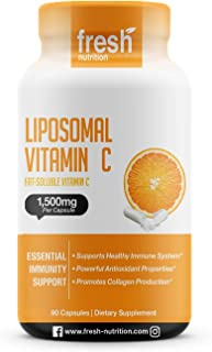 Liposomal Vitamin C - The ONLY 1500mg PER CAPSULE (NOT 2 Capsules Per Serving) DNA Verified & Potent Vit C � Swallow or Pour Powder into a Drink, All Natural Vegan Friendly, Non-GMO, Gluten & Soy Free
