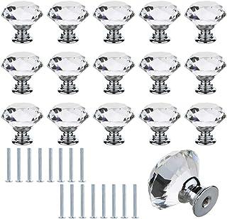 ManLee 16pcs Tiradores de Cristal 30mm Pomos y Tiradores de Muebles Pomos Puertas Perilla con Tornillos para Armarios Cajo...