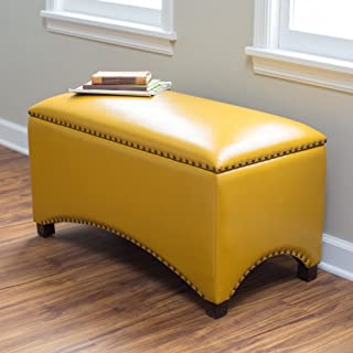 Premium Nailhead Storage Bench - Modern Leather Window Seating Organizer Home Furniture Living Room Bedroom Entryway Indoor Flip Top (Mustard Yellow)
