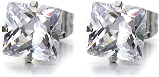 4-9MM Square Cubic Zirconia Princess Cut Stud Earrings for Men and Women Stainless Steel,2pcs