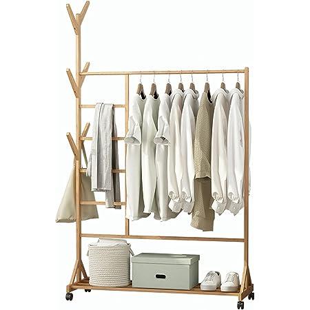 Portant à Vêtements, Porte Manteau en Bambou, Penderie avec Roulettes, 170x100x37cm, avec Compartiment pour Pantalon et Rangement Inférieur, avec 6 Crochets, Bambou Naturel