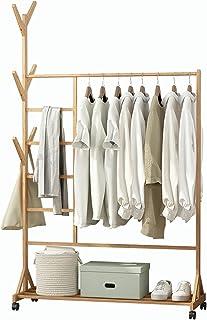 Portant à Vêtements, Porte Manteau en Bambou, Penderie avec Roulettes, 170x100x37cm, avec Compartiment pour Pantalon et Ra...