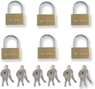25mm Small Mini Brass padlock with Brass Chromed Keys PACK of 6 all Keyed Alike [625KA-6] Mini Tiny Locks Keyed for Jewelry Box or suitcases and even diaries