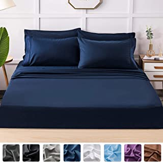 LIANLAM King Bed Sheets Set - Super Soft Brushed Microfiber 1800 Thread Count - Breathable Luxury Egyptian Sheets 16-Inch Deep Pocket - Wrinkle and Hypoallergenic-6 Piece(Navy Blue,King)