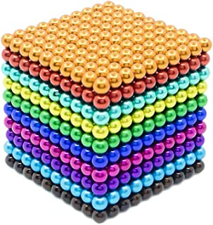 HoneyDec25 1000 Pieces 3MM Magnetic Toys, Buildable Magnets for Adults, Magnetic Beads, Mangetic Cubes for Intelligence Learning - Office Toy & Stress Relief - 10 Colors