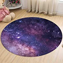 Starry Rug Round Flannel Carpet Living Room Study Table and Chair Mat Can Be Washed and Machine Washed,3,80cm