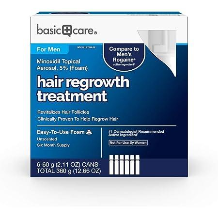 Amazon Basic Care Minoxidil Topical Aerosol, 5% (Foam) Hair Regrowth Treatment for Men, 12.66 Ounces