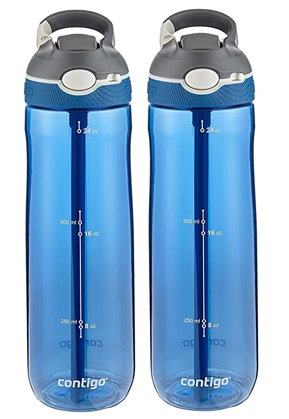 Contigo AUTOSPOUT Ashland Reusable Water Bottle - Spout Shield Protects from Germs - BPA Free - Top Rack Dishwasher Safe - Great for Sports, Home, Travel, 24oz, Monaco (2 Pack)