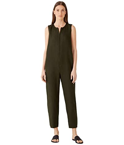 Eileen Fisher Crew Neck Cropped Jumpsuit in Organic Linen