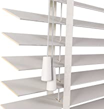 Van hoge kwaliteit Venetiaanse jaloezieën houten wit met tapes, 105 cm / 115cm / 125cm / 135 cm breed, kamer Donkerende ja...
