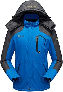 Men's Ski Windbreaker Jacket 3 in 1 Waterproof Winter Jacket Snow Jacket Windproof Hooded with Inner Warm Fleece Coat
