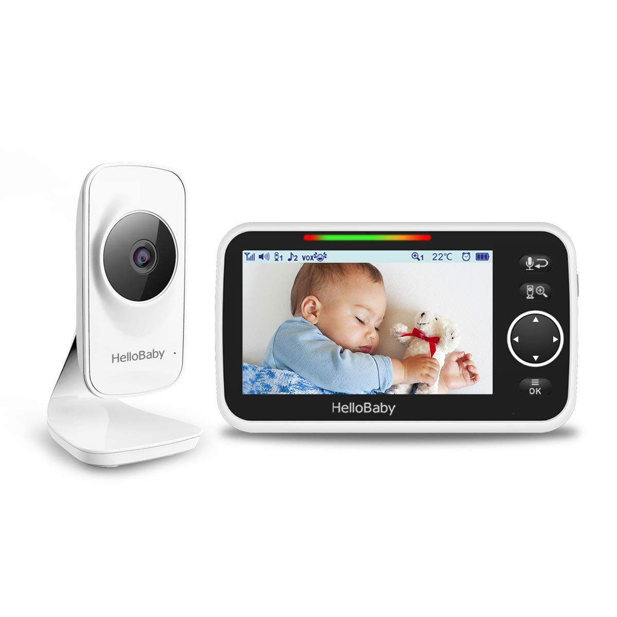 Baby Monitor with 5 inch Large Screen, HelloBaby Video Baby Monitor with Camera and Audio,Room Temperature Sensor, 2-Way Audio,VOX,Digital Zoom,Long Range,Night Vision