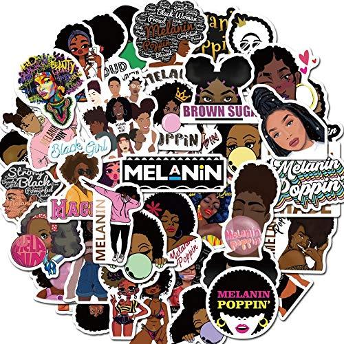 Fashion Inspirational Melanin Black Girl Sticker For DIY Luggage Laptop Skateboard Motorcycle Decals Stickers 50Pcs
