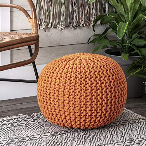 nuLOOM Bruges Knit Cotton Solid Round Ottoman Pouf