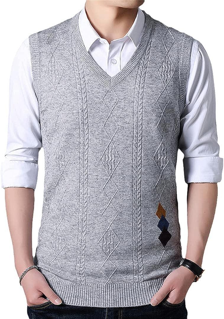EGFIOKMJHT Men V-Neck Sleeveless Vest Homme Knitted Cashmere Wool Mens Sweaters Autumn Winter Pullover Men