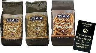 DeLallo Gluten Free Pasta 3 Shape Variety Plus Recipe Booklet Bundle, 1 each: Penne Rigate, Shells, Fusilli (12 Ounces)