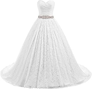 Women's Ball Gown Lace Bridal Wedding Dresses