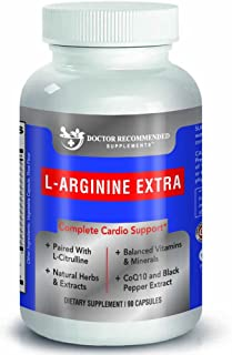 Doctor Recommended L-Arginine Supplement – Supports Muscle Mass – Improves Blood Flow – Nitric Acid Precursor – Blended with Vitamins and Cardio Support Ingredients – 100% Vegetarian – Made in USA