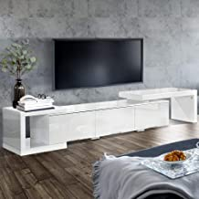 Artiss TV Unit 172cm to 290cm Length Adjustable Entertainment Unit High Gloss TV Cabinet Console Table, White