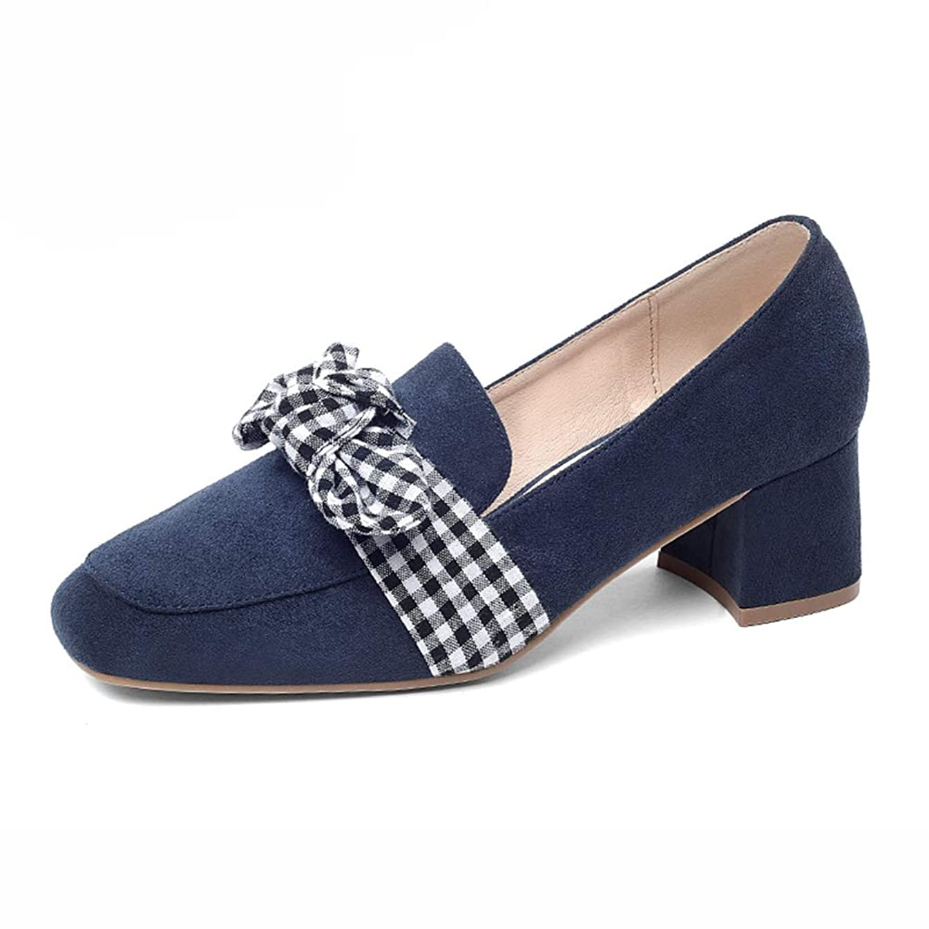 直面するステンレスなんでもHWF レディースシューズ 女性のミッドヒールファッションスクエアトウシューズ女性ボウノットの秋の靴 (色 : 青, サイズ さいず : 37)
