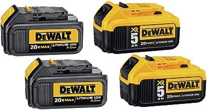 DEWALT 20V MAX XR Premium Battery, 5.0 Ah & 3.0 Ah, 4-Pack (DCB305-4)