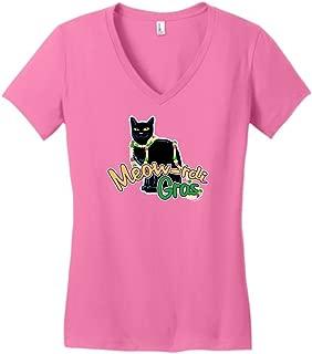Meow-rdi Gras Funny Cat Mardis Gras Beads Juniors Vneck