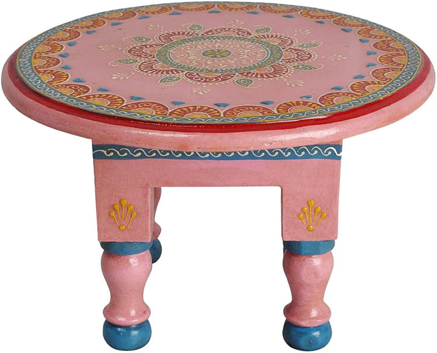 Lalhaveli Designer Pink Round Low Height Wooden Small Table 9 x 9 x 6 Inch
