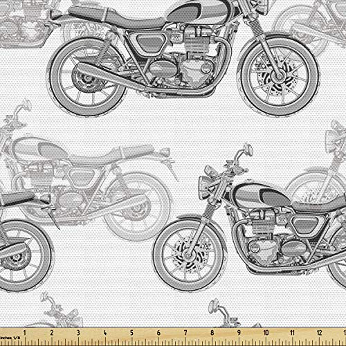 Ambesonne Motorcycle Fabric by The Yard, Realistic Grayscale Illustration of Classic Motorcycles with Many Details, Decorative Fabric for Upholstery and Home Accents, Grey White Black
