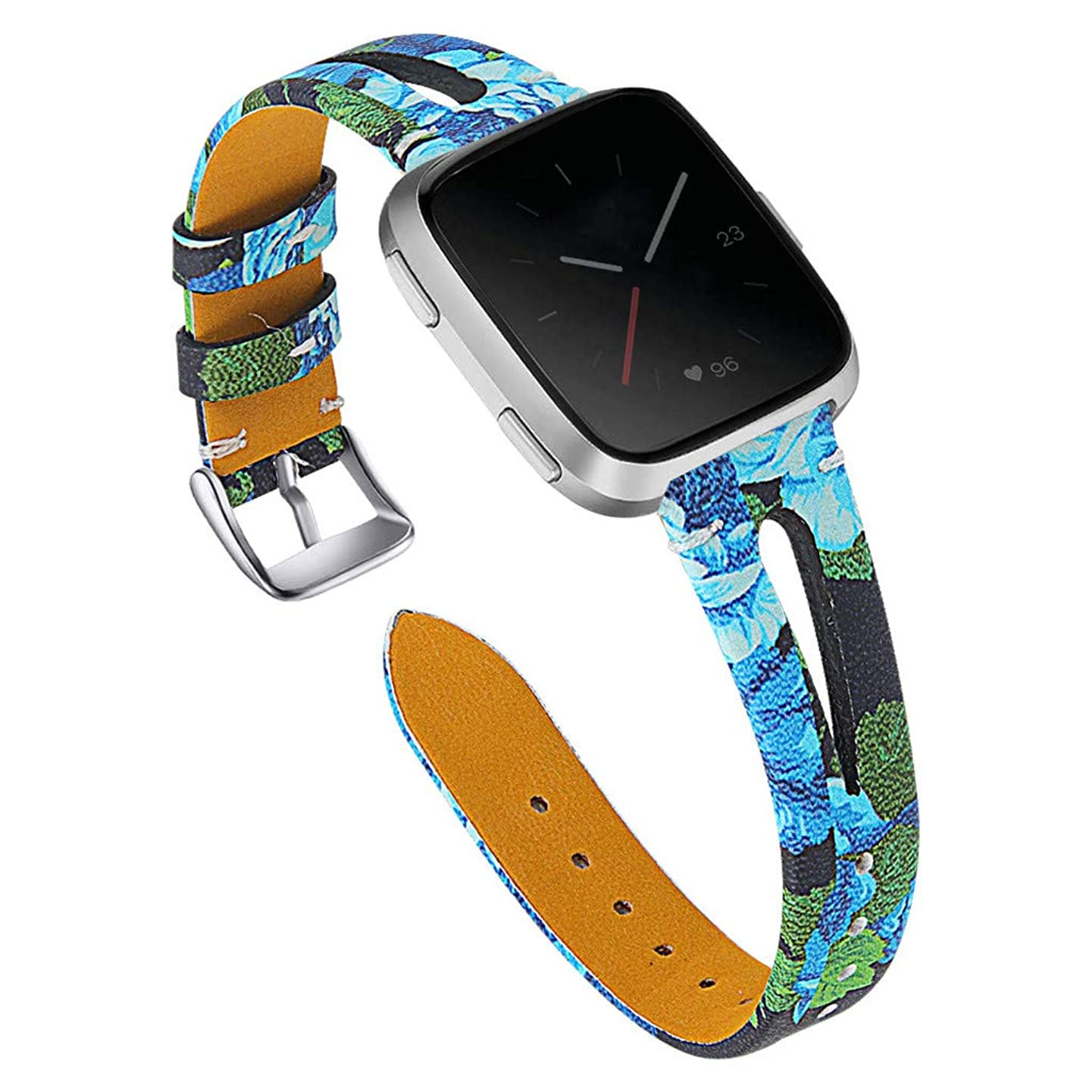 Pumsun Replacement Leather Strap Wrist Strap for Fitbit Versa,11 Colors Watch Band (J)