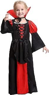 Halloween Girls Coffin Queen Vampire Costume, Long Vampire Dress and Collar