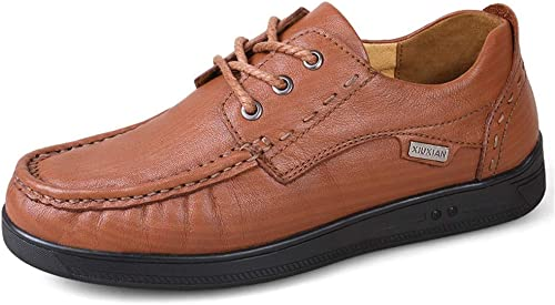 SRY-Chaussures de Mode Chaussures Oxford pour Hommes Chaussures schématiques à Lacets Style Cuir Ox Rétro British Massage Outsole (Couleur   Light marron, Taille   45 EU)