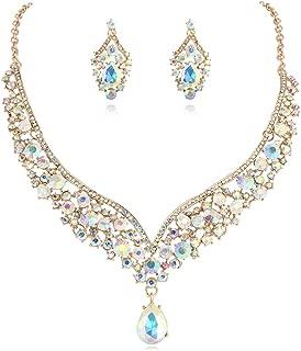 Janefashions Elegant Teardrop AB Austrian Rhinestone Crystal Bib Statement Necklace Earrings Set Bridal Jewelry Set N1623g Gold-Tone