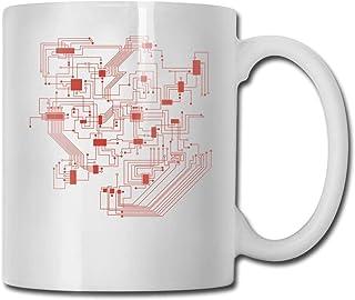 Xarchy Tasse à café en porcelaine Circuit physique Tasse en céramique Tasses à thé pour le bureau à domicile