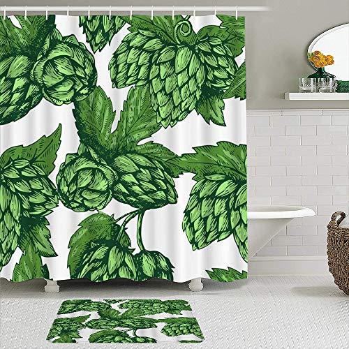 AYISTELU Juegos de Cortinas de baño con alfombras Antideslizantes, Hojas Verdes Artístico Cerveza Lúpulo Bebida Rama Naturaleza Planta Dibujo,con 12 Ganchos